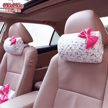 MOCMOC 2017 New women cute car seat headrest neck pillows white PU leather head support pillows memory cotton pillow MOC-F015