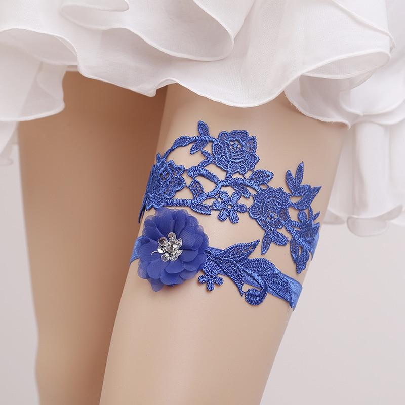 2 pezzi delle ragazze delle donne Lace giarrettiera Wedding Party Cintura giarrettiera Fiore Floral Design sposa Strap Anello Leg
