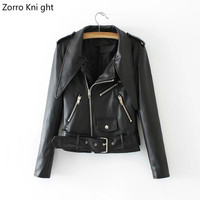 2018 Spring And Autumn New Female Leather Jacket Leather Short Paragraph Slim Korean Version Of The Pu Leather Clothing Tip Lape