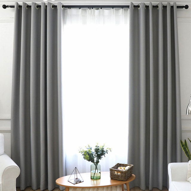 US $8.78 35% OFF|Aliexpress.com : Buy LuoShanNa Window Curtains Grey Blue  Modern Living Room Pure Solid Color Shade Curtains Linen Drapes Bedroom  Blue ...