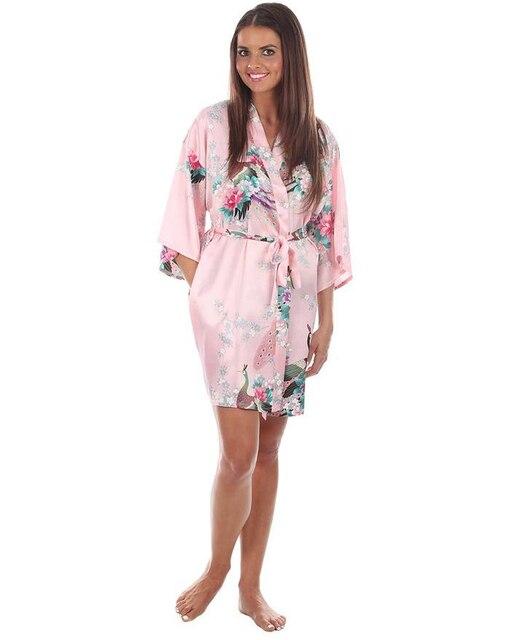 Pink Woman Silk Kimono Yukata Gown Sexy Printed Robe Dress Short Mini Lingerie Floral pajama S M L XL XXL XXXL A100