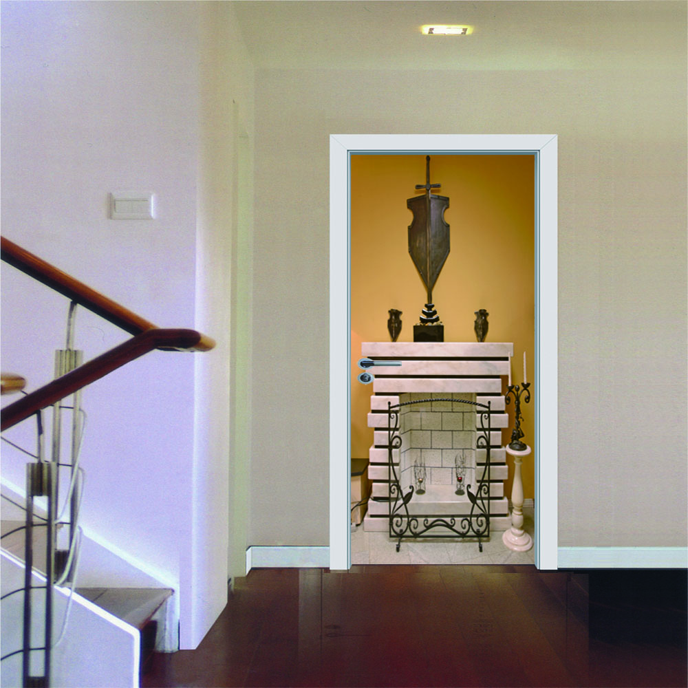 70*200cm  New Door Paste European Fireplace Decorative Stickers Bedroom Living Room Decoration Wall