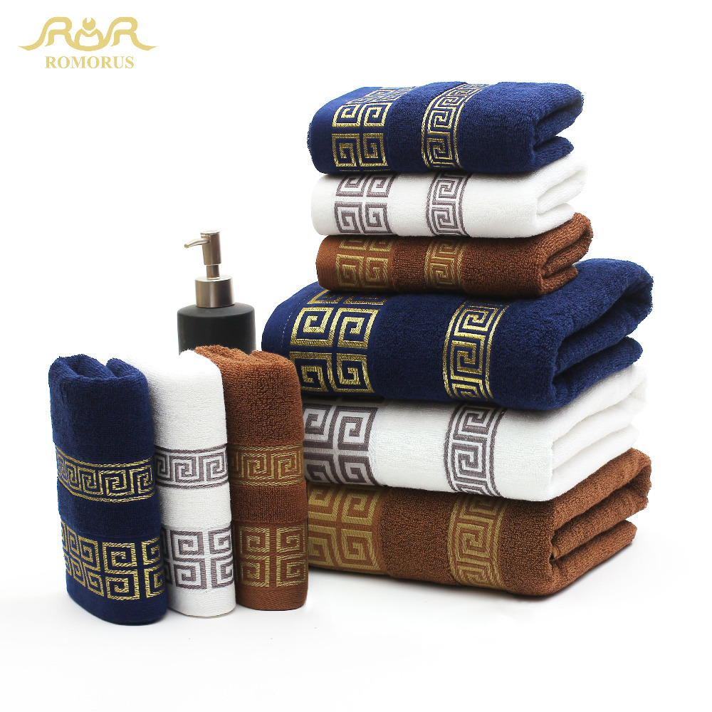 ROMORUS 100% Cotton Embroidered Towel Sets White Beach Bath Towels for  Adults Luxury Brand High