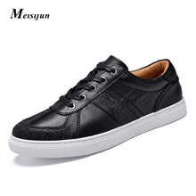 MEISIJUN British style men casual shoes carved Genuine leather men shoes low