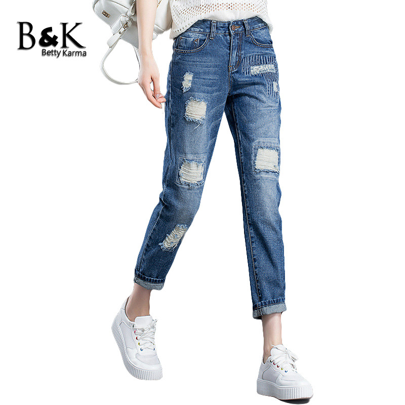 Boyfriend Jeans for Women Casual Plus Size Denim Harem Pants Female Loose Ankle Trousers Pantalon Femme Ripped Jeans mom Jeans