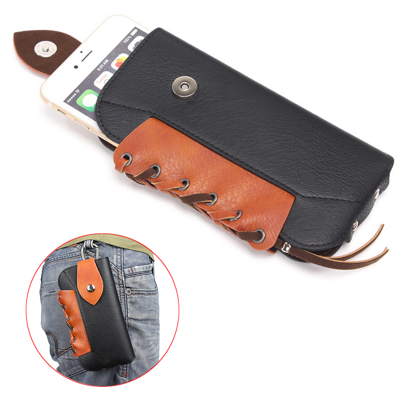 "4 Colours Vintage Rhino Mountaineering Holster Bag Hook Loop Vertical Case Belt Pouch  For All Smart Phone 5.5"" Below"