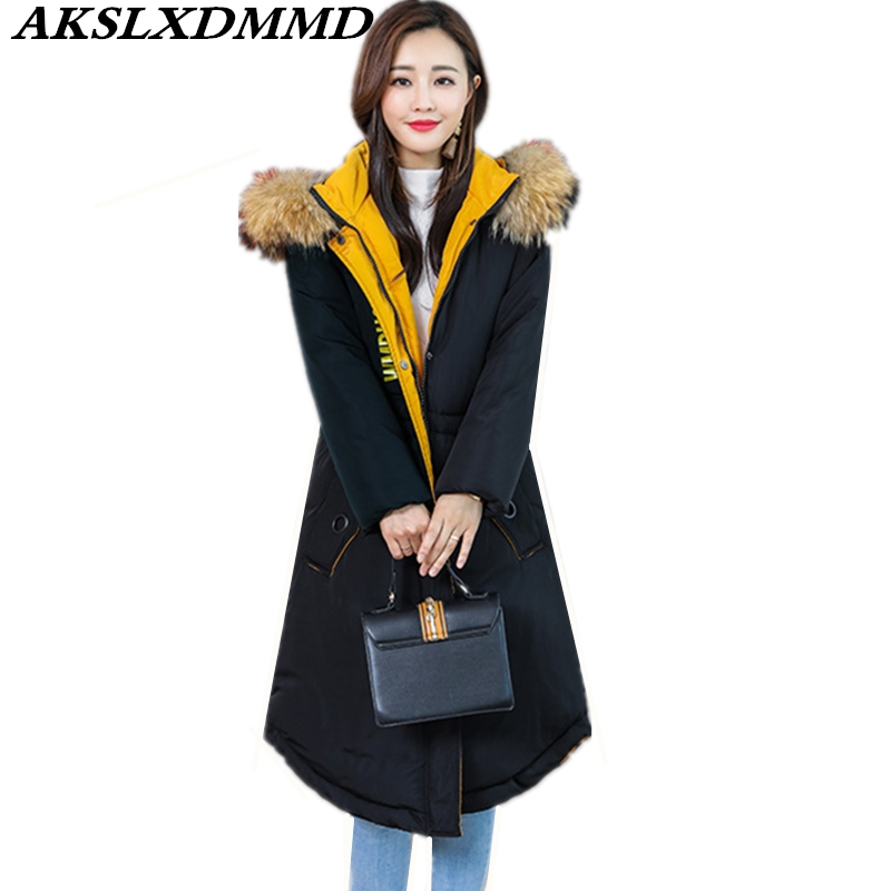 2019 New Women Winter Jacket Hooded Fur Collar Cotton Coat Warm Large Size Thicken Loose Long Outerwear Winter Women   Parka   CW110