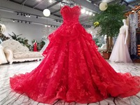 CloverBridal Red Sweetheart Lace Bridal Dresses 2017 Free Tailor Made Wedding Gown Designs Robe De Mariee