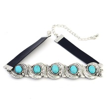 2017 New Hot Fashion Jewelry Sets Leather Bohemia style Collar Choker Turquoise Beads necklace  for women fashion jewelry sets women bohemia africa choker necklace bracelet sets kim kardashian statement jewelry magnetism button