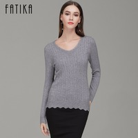 FATIKA 2017 Autumn Winter New Fashion Women V Neck Full Sleeve Slim Pullovers Wave Bottom Solid