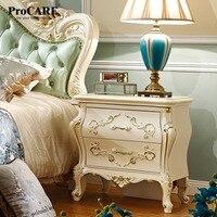 Роскошный европейский и американский стиль мебель для спальни роза серии французский прикроватные шкафы/стол с золотой