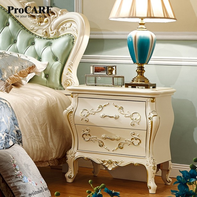 Luxury European And American Style Bedroom Furniture Rose Series French Bedside Cabinets Table With Gold