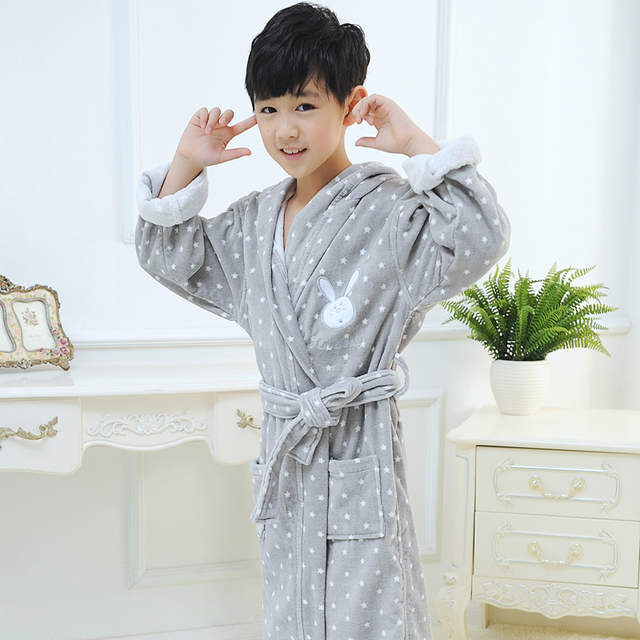 87c2c9c629 Online Shop Child bathrobe boys and girls baby cotton hooded nightgown  winter towel fleece cartoon cap bath spa robes christmas grey autumn