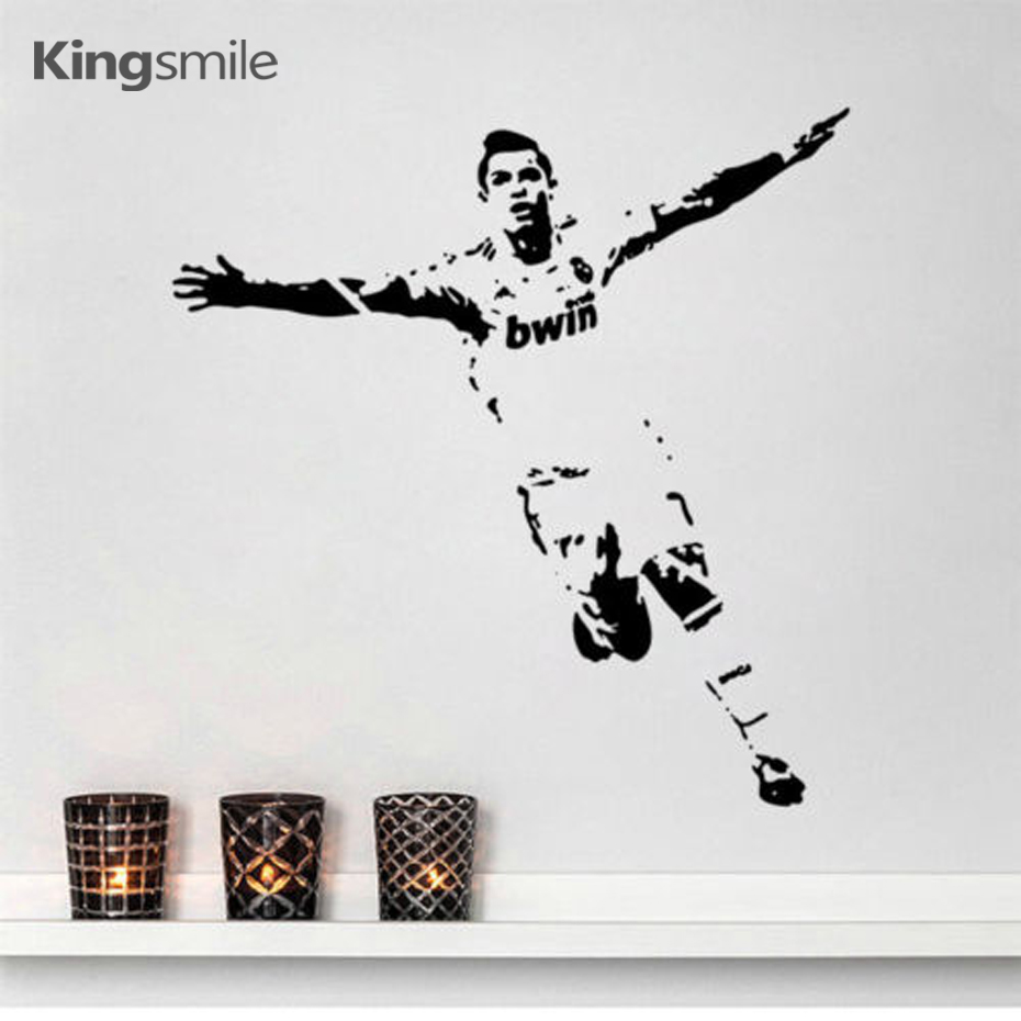 Atlet sepak bola sepak bola cristiano ronaldo merayakan wall art decals vinyl mural sticker untuk kamar anak home decor size111x118cm di wall stickers dari