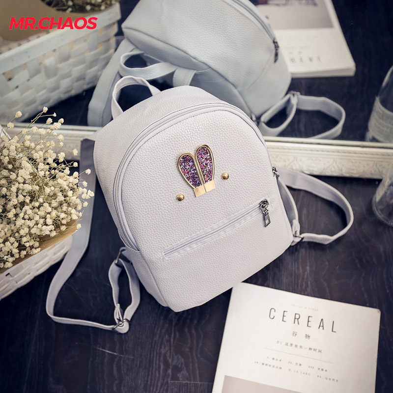 2018 new women summer Backpack Bag ear female Korean Pu school bag ladies fashion small backpack tide wind