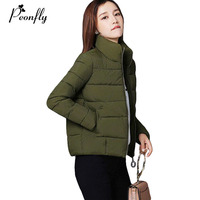 PEONFLY 2017 8 Colors Fashion Cotton Padded Thick Warm Winter Jacket Women Long Sleeve Coat Female