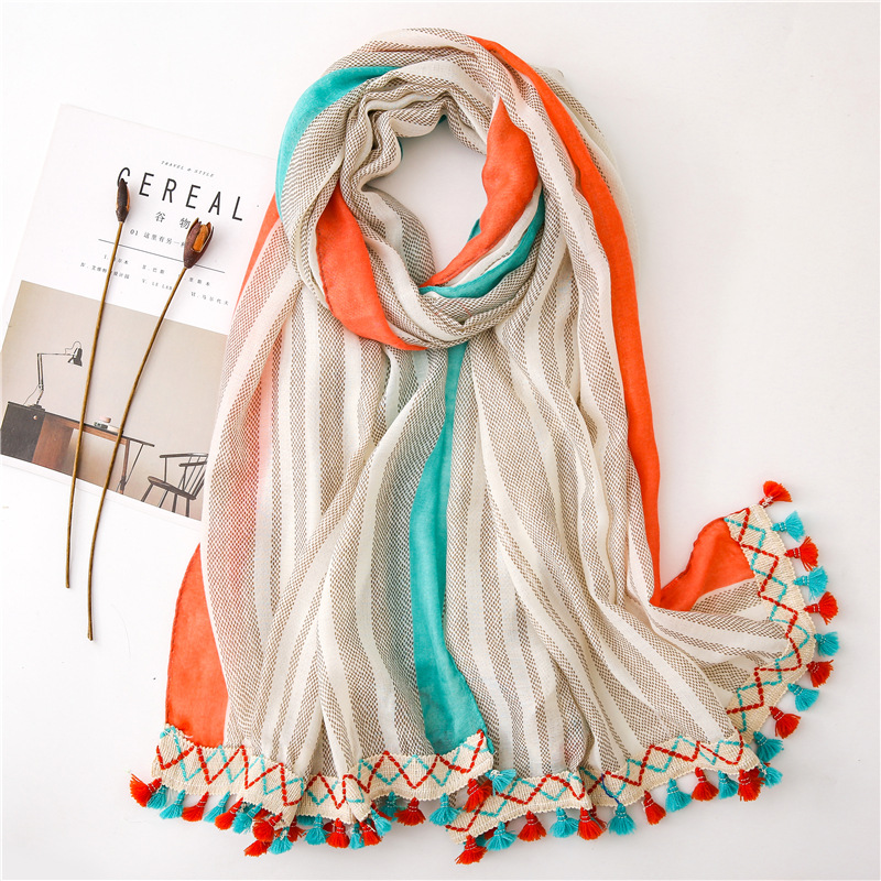 2019 Spain Fashion Plain Ribbon Ombre Chain Tassel Viscose Shawl Scarf Women High Quality Pashmina Stole Bufandas Muslim Hijab