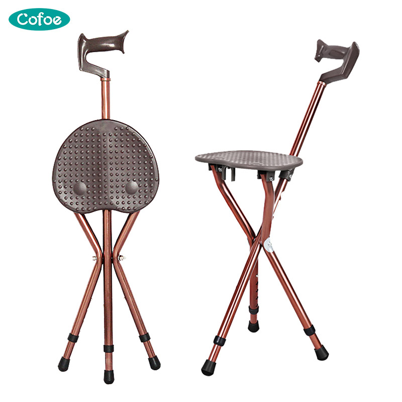 Cofoe 2 in 1 Folding Aluminium Lightweight Walking Stick with Seat Mobility tripod stool Portable Walking Cane Chair For Elder folding cane chair walking stick with tripod stool