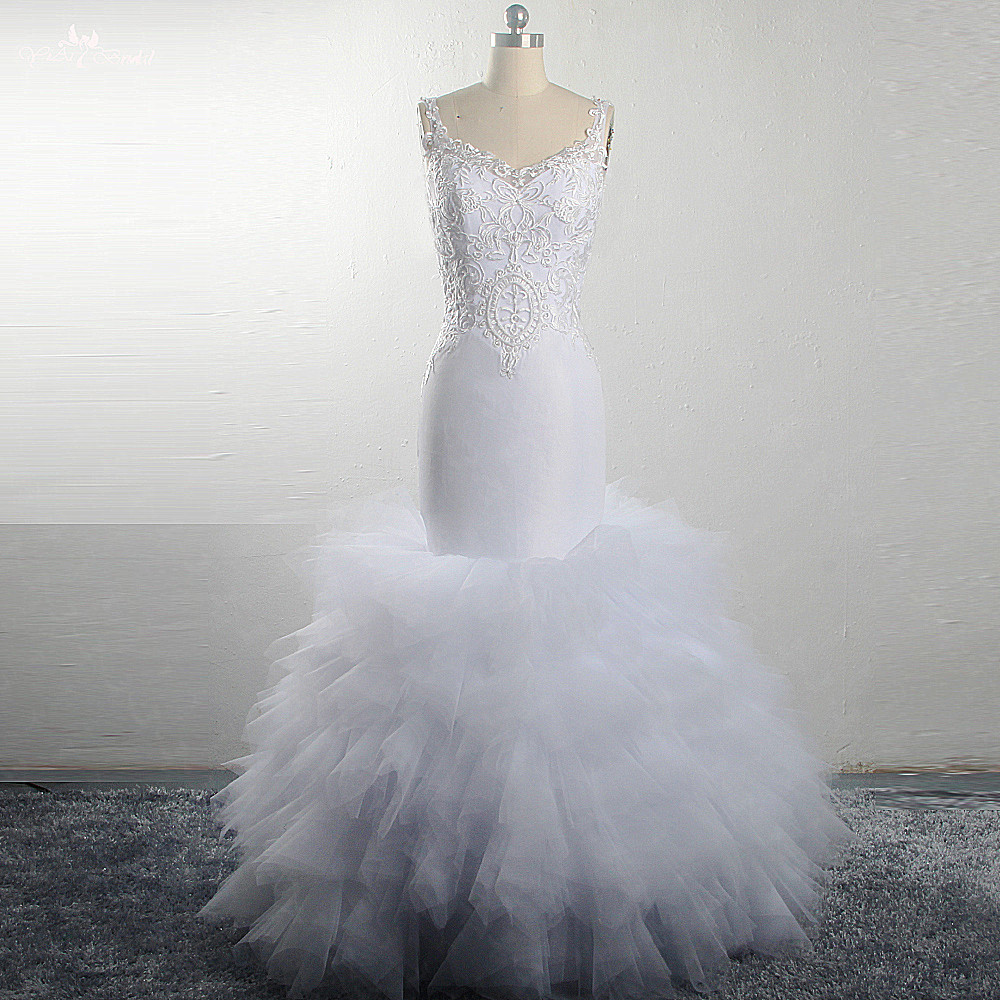 Lace Mermaid Wedding Gown With Tulle Skirt: RSW1495 White Lace Tulle Puffy Skirt Mermaid Wedding