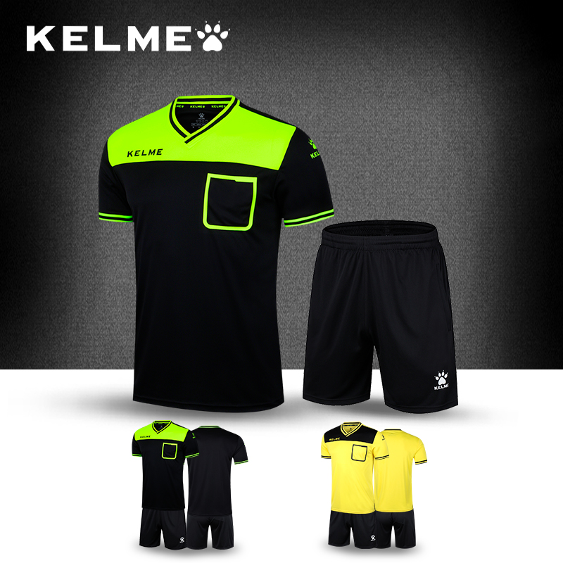 9173b55148d KELME Soccer Referee Jerseys Sets Short Sleeve Men Professional Uniform  Camisetas De Futbol Customizable Football K15Z221