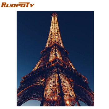 RUOPOTY 60x75cm Frame Diy Painting By Numbers Eiffel tower Kit Landscape Modern Wall Art Picture By Numbers Gift For Home Decor