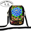 Vintage Embroidery Bag Boho Ethnic Peony Coins Embroidered canvas cover shoulder messenger bags Hmong small coins bags