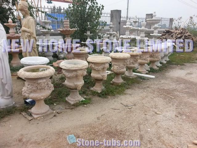 Hand carved stone garden planters and urns outdoor for Decorative outdoor pots