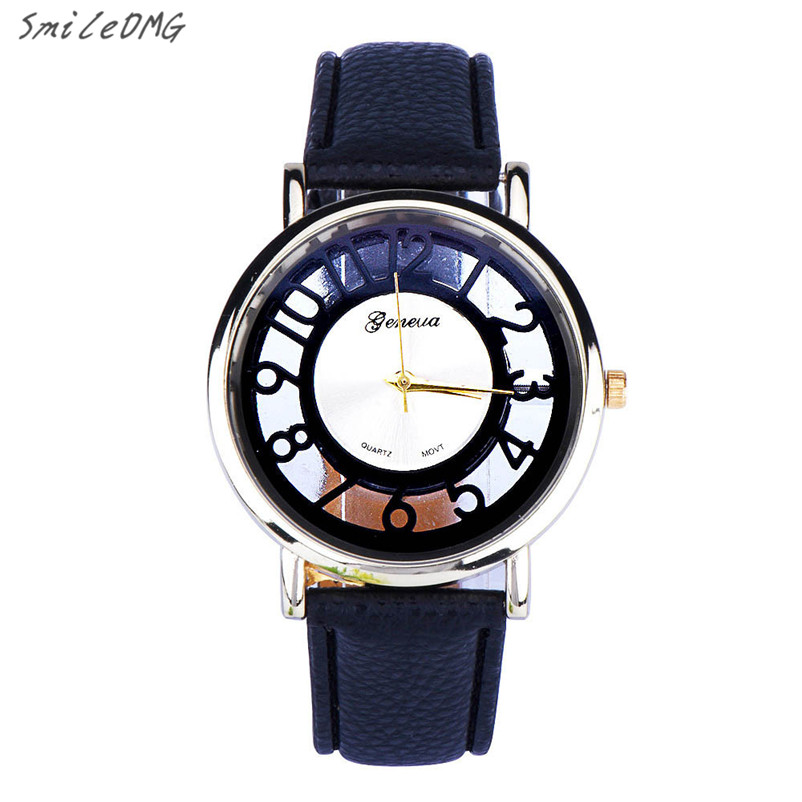 SmileOMG Classic Hollow Fashion Womens Watch Analog Quartz Leather Wrist Watch Lady Christmas Gift Free Shipping,Sep 2 smileomg hot sale fashion women watch panda faux leather band analog quartz wrist watch christmas gift free shipping sep 6