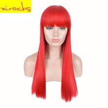 3625 xirocks 22 дюймовые красные тупые челки парики для вечерние