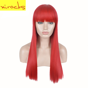 3625 Xi.rocks 22inch Red Blunt bangs Party Wigs Cardi B Hair Belcalis Almanzar Latest Long Straight Synthetic Wig