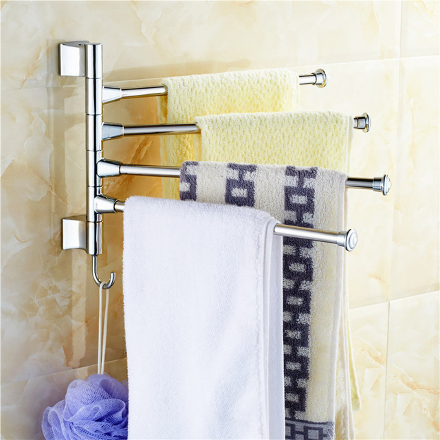 Stainless Steel Bathroom Rotating Towel Bar Wall Mounted Kitchen Rack Cleaning Cloth Holder With