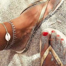 WNGMNGL Shell Silver Boho Anklet Foot Chain Ankle Summer Bracelet Charm Tassel Sandals Barefoot Beach Bridal Jewelry