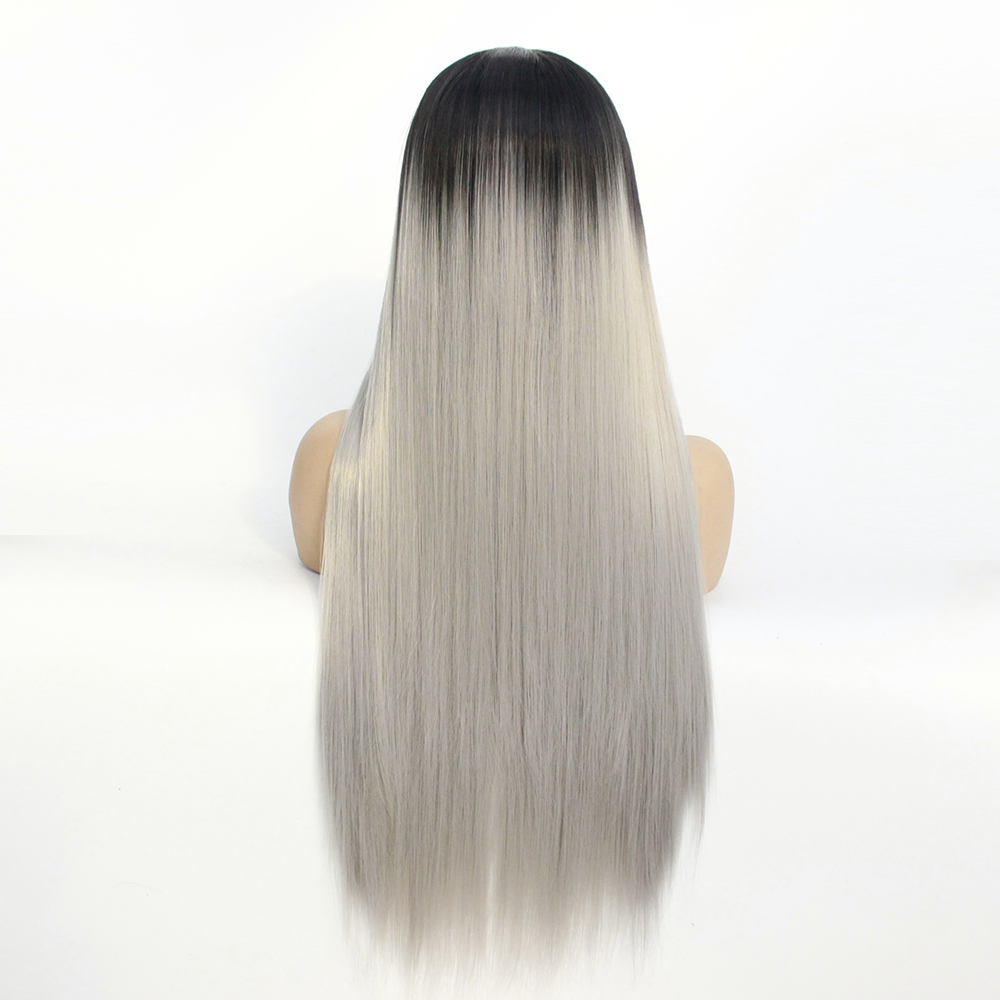 Long Middle Part Wig Ombre Grey Lace Front Wig for Women or Girls Cosplay Daily Party Heat Resistant Full Wigs Straight Real Gray Fiber Wig (Not Human Hair) Half Hand Tied-7