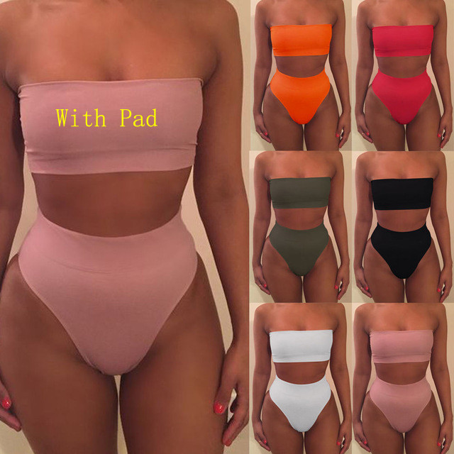 High Waist Swimsuit 2018 Sexy Bikini Women Brazilian Pad Swimwear Push Up Bandeau Top Plus Size Bottom Bikini Set Bathing Suits(China)