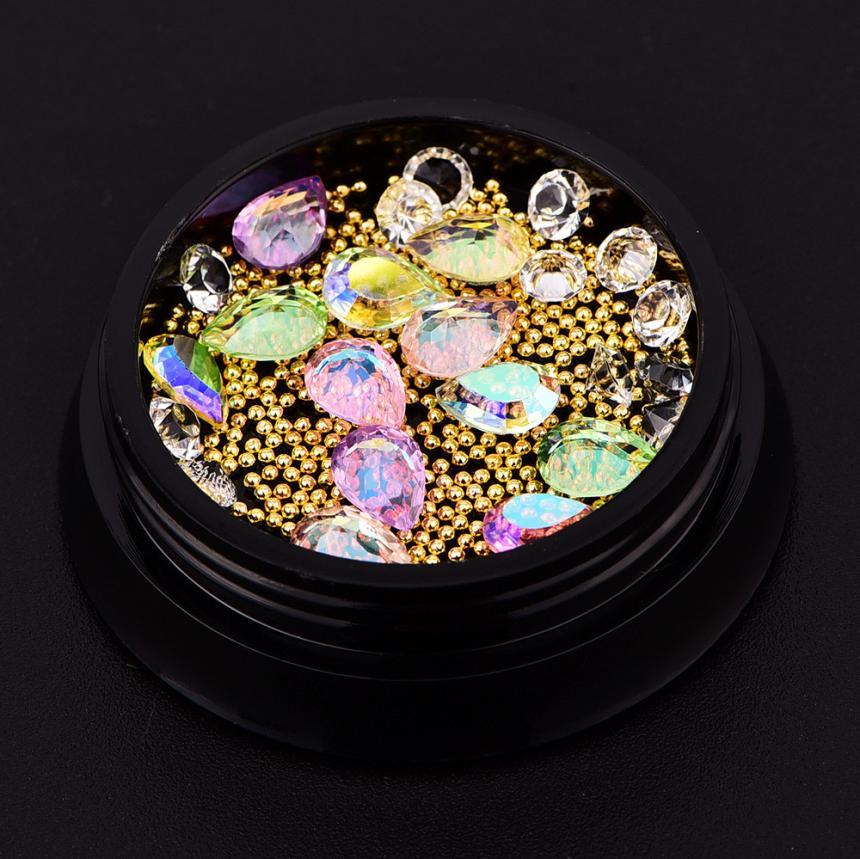 1 BOX New Nail Art Rhinestones Dcrylic 3D Glitter Sequins Colorful nail art decorations Dropship Beauty 12.19