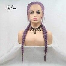 Sylvia Gemischt Lila Perücke Doppel Braid Haar Mit Baby Haar Synthetische Braid Spitze Front Perücken Wärme Beständig Faser Haar Mitte teil