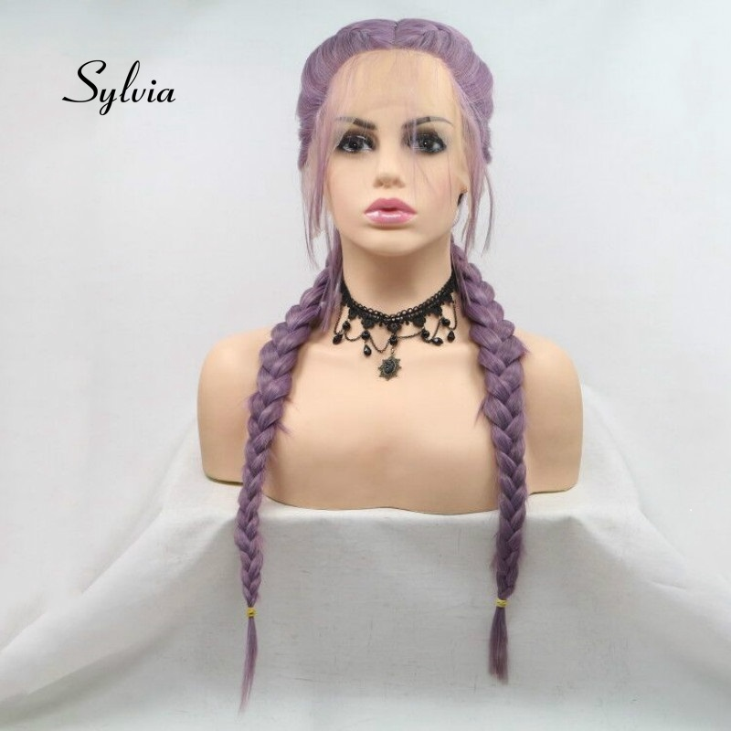 Sylvia mieszane fioletowy peruka podwójny oplot włosy z dzieckiem włosy oplot syntetyczny koronki przodu peruki włókno termoodporne włosów część środkowa w Brak Lace Peruki syntetyczne od Przedłużanie włosów i peruki na AliExpress - 11.11_Double 11Singles' Day 1