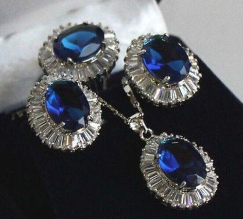 silver Beautiful Blue Crystal Pendant Necklace Ring Earring set Quartz Fine Bridal wide font b watch