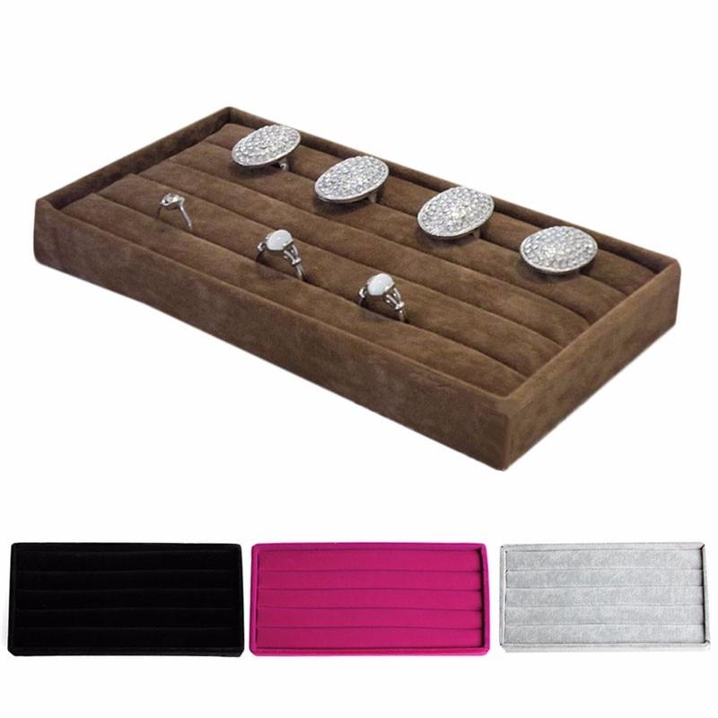 1pcs Velvet Jewelry Ring Earring Display Organizer Box Tray Holder
