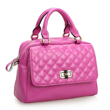new 2014 women handbag cowhide spring summer fashion plaid fashion women leather handbags shoulder bag hot