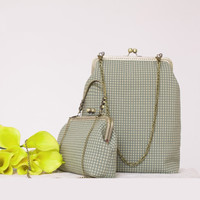 Handmade DIY Bag Crafts Material Package For Women Messenger Bag Geometric Grid Metal opening Frame with Chain Bag Gift