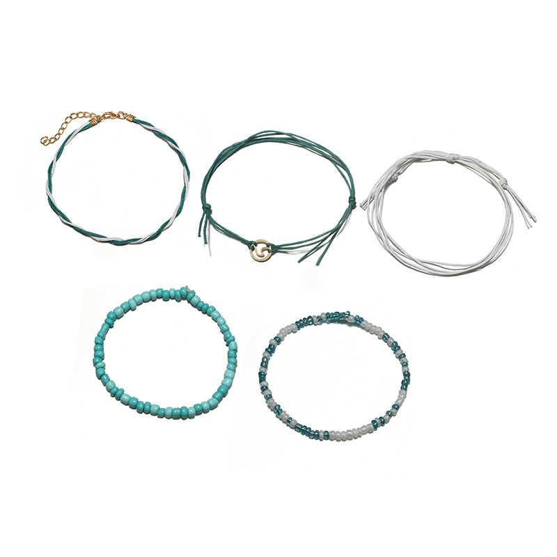 Docona пляжная синяя зеленая веревка кулон с волной женские браслеты для щиколотки волнистый Серфер многослойный ножной браслет Boho бижутерия для ног Pulseras 6548