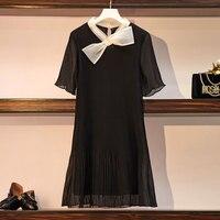 New Summer Bow Tie Black Chiffon A Line Dress Plus Size L 4XL Women Sexy Pleated Party Club Dress Mini Vestidos