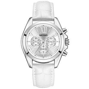 Image 2 - MEGIR frauen uhren luxus quarz wasserdichte Frauen uhr echtes leder strap Chronograph Armbanduhren Relogio Feminino