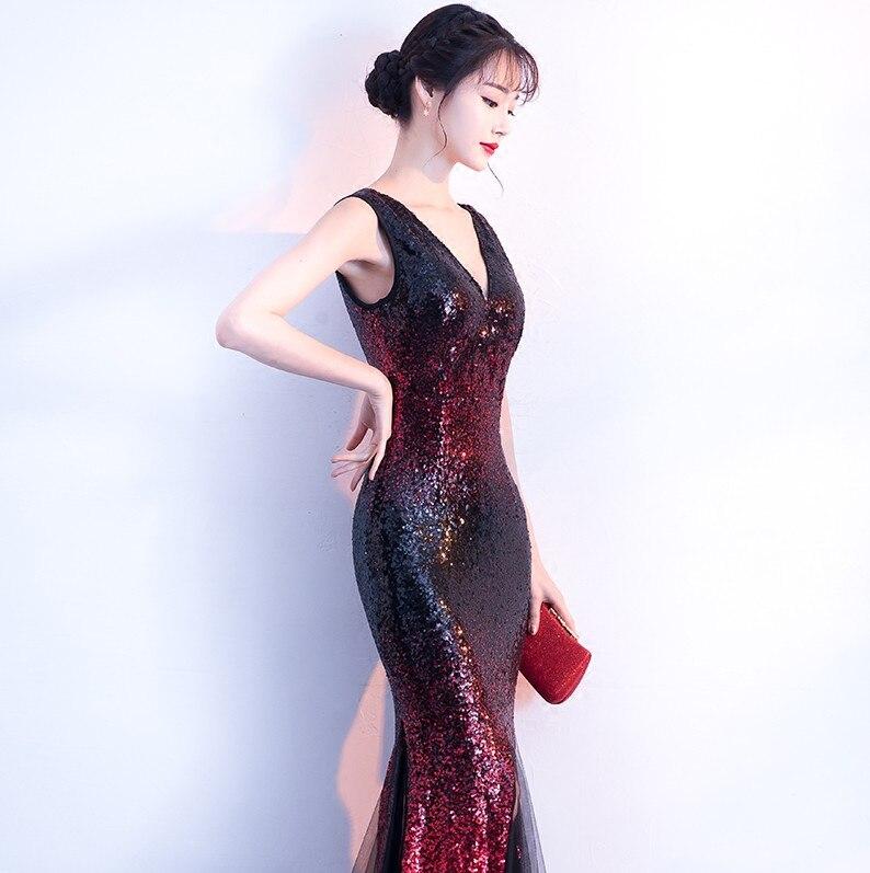 Robes De soirée sirène longues 2019 paillettes Robe De soirée Sexy col en v robes De bal Elie Saab robes Abiye - 5
