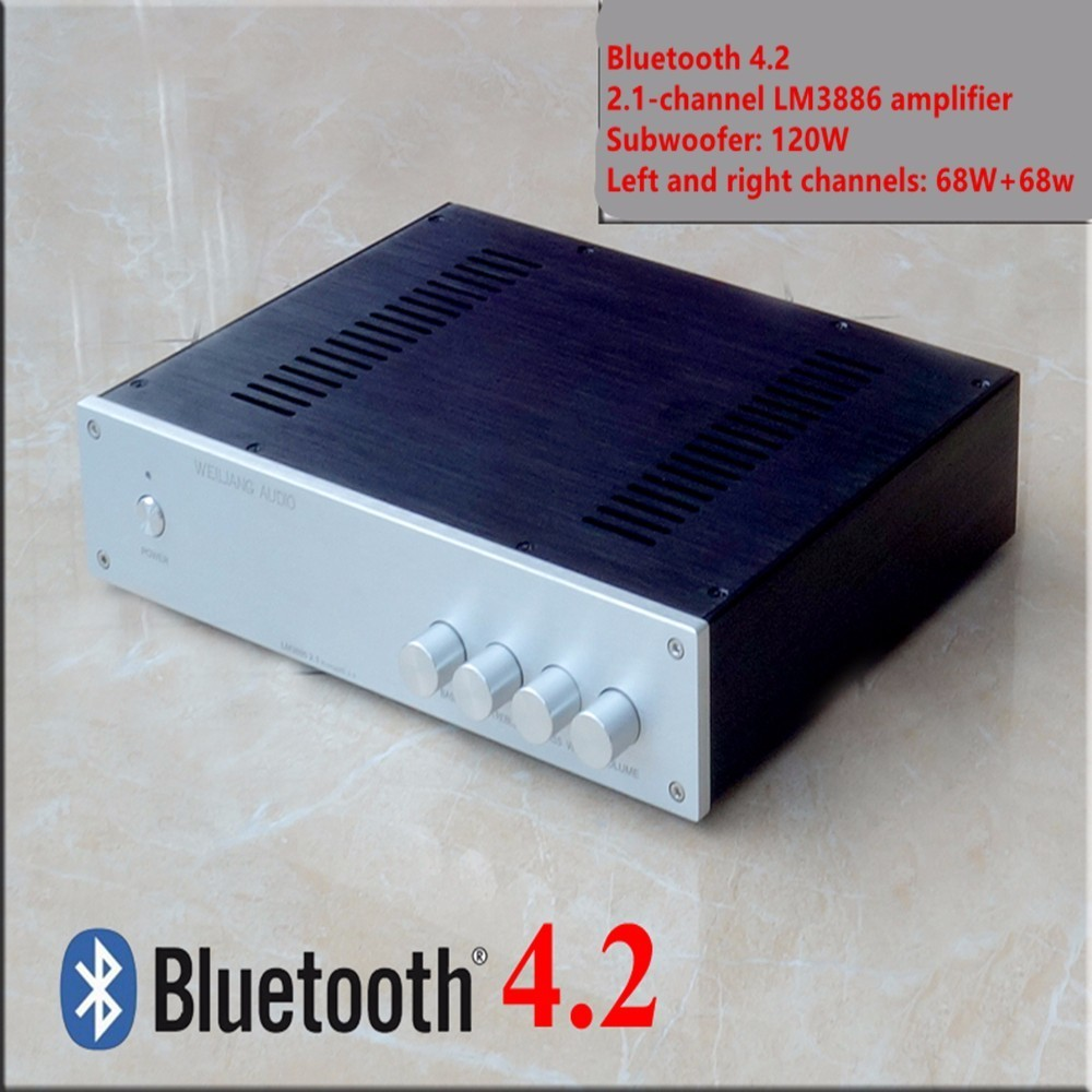 B3 250W Bluetooth 4.2 LM3886 2.1-channel stereo audio amplifier subwoofer 120W left and right channels 68w+68w HiFi amplifier douk audio lm3886 dual parallel pure power amplifier hifi amp board 120w 120w