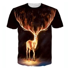 New Fashion Firewalker 3D T Shirt Funny Animal Shiny Deer Print Tee Shirts Casual Fitness T-shirt Tops For Men Women S-5XL R2431