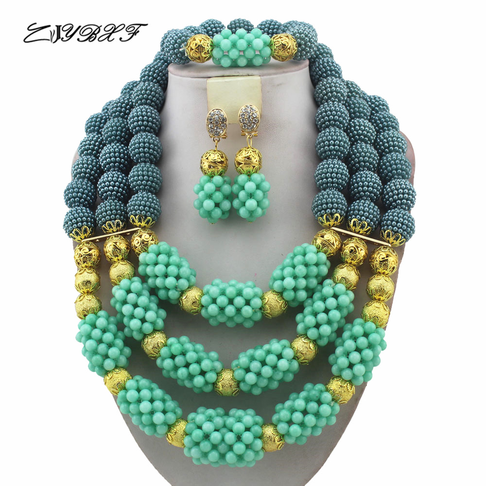 Fashion New Handmade Mint Green Wedding African Bold Beads Jewelry Set Nigerian Bridal Costume Necklace Set Free Shipping HD8514Fashion New Handmade Mint Green Wedding African Bold Beads Jewelry Set Nigerian Bridal Costume Necklace Set Free Shipping HD8514