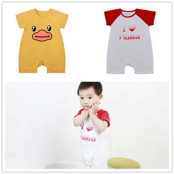 2018 New baby rompers Newborn short sleeve with Ducklings Baby Boy Summer clothes Cute Cartoon Jumpsuit Climbing Clothes
