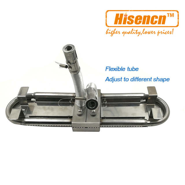 Hisencn 004 1pcs Adjustable Universal Replacement BBQ Gas Grill Oblong Tube  Burner Parts Adjust 15-inch to 22-inch/38-56cm